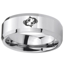 8mm Pisces Zodiac Horoscope Beveled Edges Silver Tungsten Carbide Promise Ring - $39.99