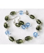 Gray Blue Faceted Glass Bead Bracelet Earrings Set - $8.00