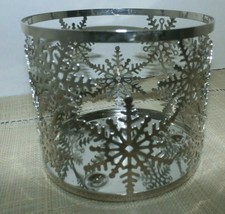 Bath & Body Works 3 Wick Candle Holder Sleeve Snowflake Silver Slatkin - $10.88
