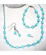 Blue Glass Cube Seed Bead Silver-Plated Jewelry... - $20.00