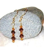 GENUINE Swarovski Crystal Smoked Topaz Earrings - $12.00