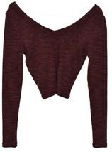 Topshop Women's Plum Purple Ribbed Crop V-Neck Sweater US 6   EUR 38   UK 10 image 2