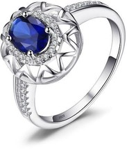 JewelryPalace Unique Design 1.2ct Created Blue Sapphire Ring 925 Sterli... - $52.96
