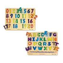 Melissa & Doug Wooden Peg Sound Puzzles Set Numbers and Alphabet, Learni... - $49.00