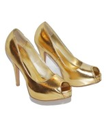 Qupid Goldtone Stiletto Heel Platform Peep-Toe, Size 6 Pre-Owned - $12.00
