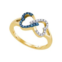 10kt Yellow Gold Round Blue Colored Diamond Heart Love Fashion Ring 1/6 Ctw - £105.95 GBP