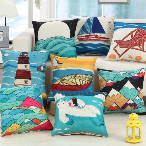 Cartoon Beach Cotton Linen Throw Cusion Cover Home Decorative Pillowcase 45x45cm - $3.72