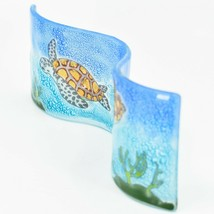 Fused Art Glass Ocean Sea Turtle Wavy Decor Sun Catcher Handmade in Ecuador image 2