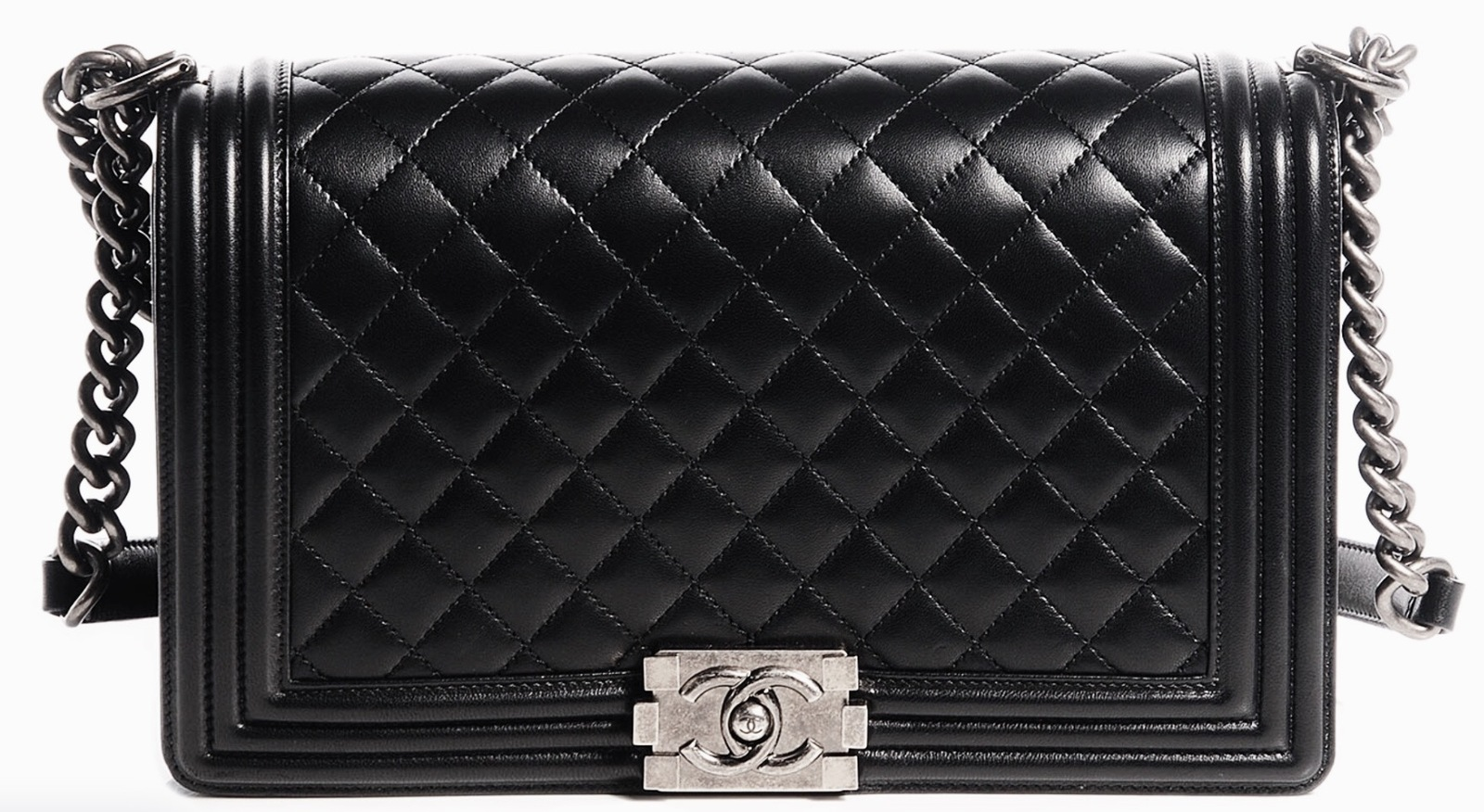 5ad8992e54b7 Chanel Black Lambskin Chain Quilted Medium Boy Bag