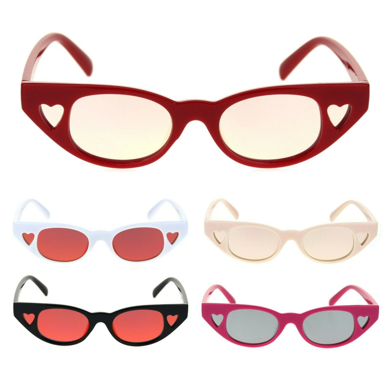 Womens Narrow Cat Eye Heart Shape Side Lens Plastic Sunglasses