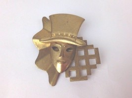 Vintage Metal Face Mod Theater Mask Brooch Pin - $5.95