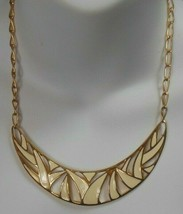 Vintage Signed Monet Gold-tone Enamel Chain Collar Necklace - $26.99