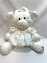 Vtg 1986 Fisher-Price Puffalump White Cow Plush Pink Hearts Lace Dress 8001 - $39.59