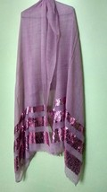 Stole Scarf Shawl neck wrap sequins work pink fine quality+ 1 pc complem... - £29.58 GBP