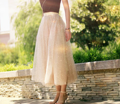 GOLD Sequin Tulle Midi Skirt Women Gold Sparkly Skirt Plus Size Party Skirt image 4