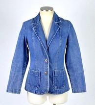 Vintage 1990s Blue Denim Jean Jacket Blazer Sport Coat Retro Grunge Wome... - $29.69