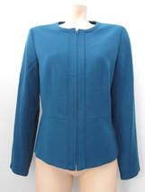 Talbots Women's Jacket Size 6 Italian Flannel Blue Teal Full Zip Wool Blend - $37.39
