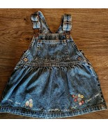 Oshkosh B'Gosh Overall Dress Baby Girls Sz 12 Mos Denim Skirtall Jumper ... - $19.78