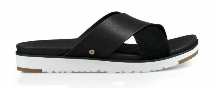 Primary image for UGG Kari Metallic Slide Womens Black Leather Straps Fashion Sandals Size 1090383