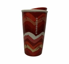2014 Starbucks Red Chevron Ceramic Tumbler 10oz - $29.67