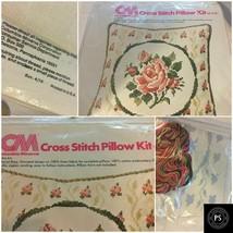 "Vintage 1976 CM Cross Stitch Pillow 14"" x 14"" Floral Kit Thread USA SKU0... - $15.99"