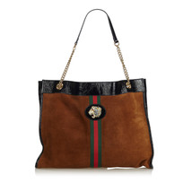 Pre-loved Gucci Brown Suede Leather 2018 Large Rajah Tote Bag Italy - $2,182.21