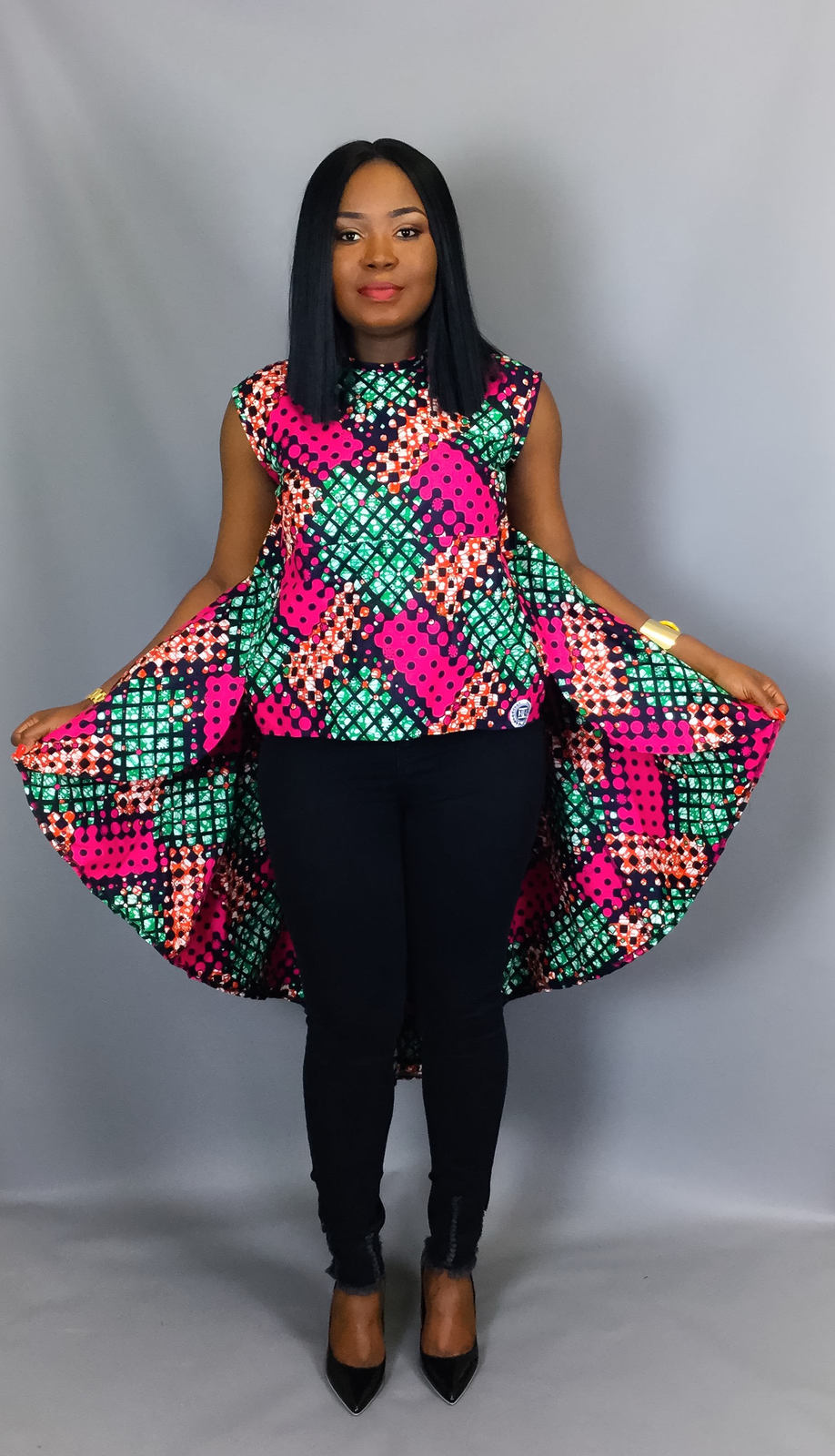 African print loose high low top,African clothing,African ...