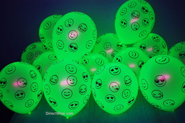 100 Pack Neon Yellow 11 inch UV Blacklight Reactive Latex Emoji Balloons - $44.95