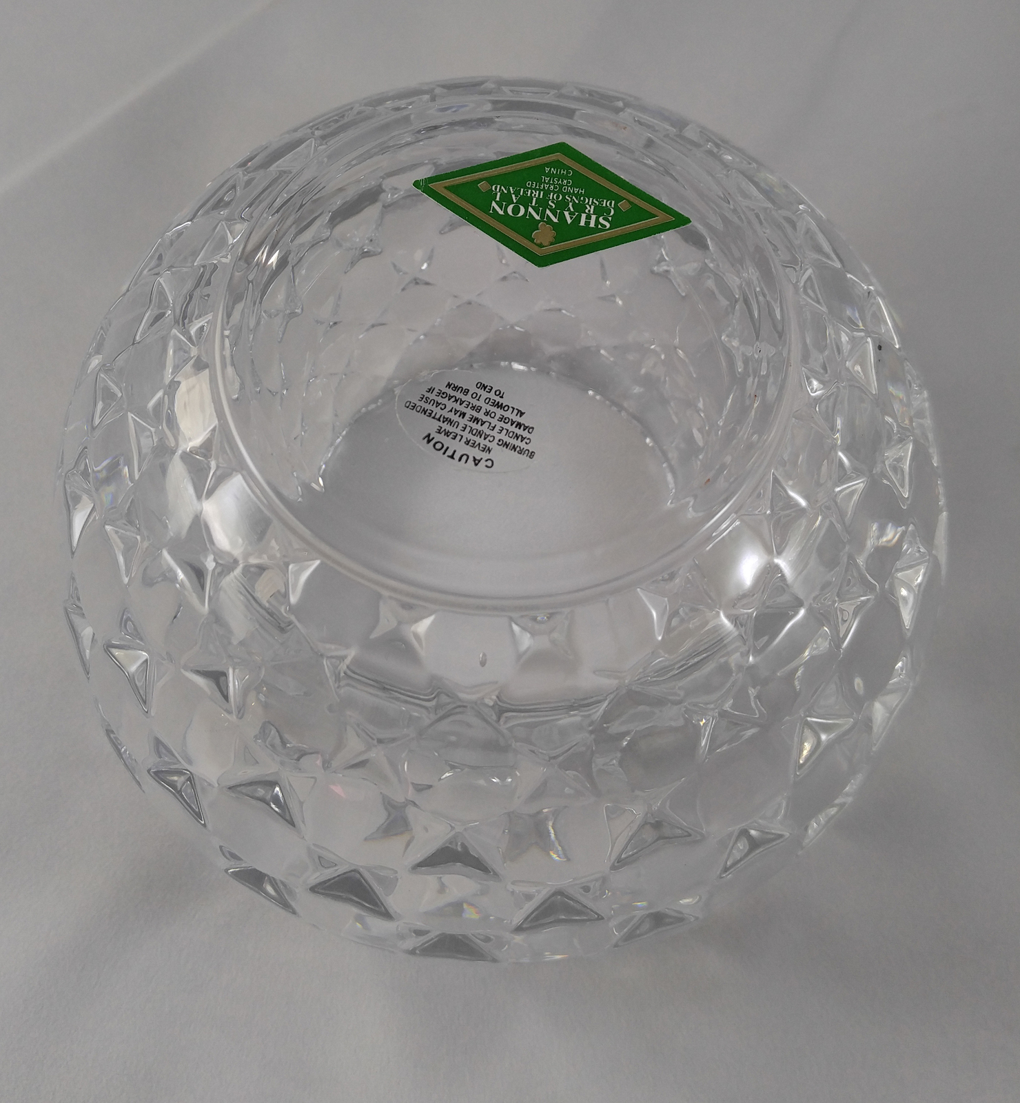 Shannon Designs of Ireland Irish Lead Crystal Quilted Rose Bowl Candle Holder