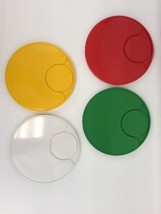 "INGRID Chicago Picnic Plates Only Set Of 4 Red Green Yellow White 8"" Dia... - $29.39"