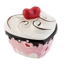 HEART SHAPED CERAMIC CUPCAKE STORAGE JAR PINK RED WHITE 11CM X 10CM X 9CM - $14.92
