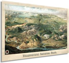 1904 Yellowstone National Park Poster - Vintage Map of Yellowstone Wall Art - Ye - $34.99+