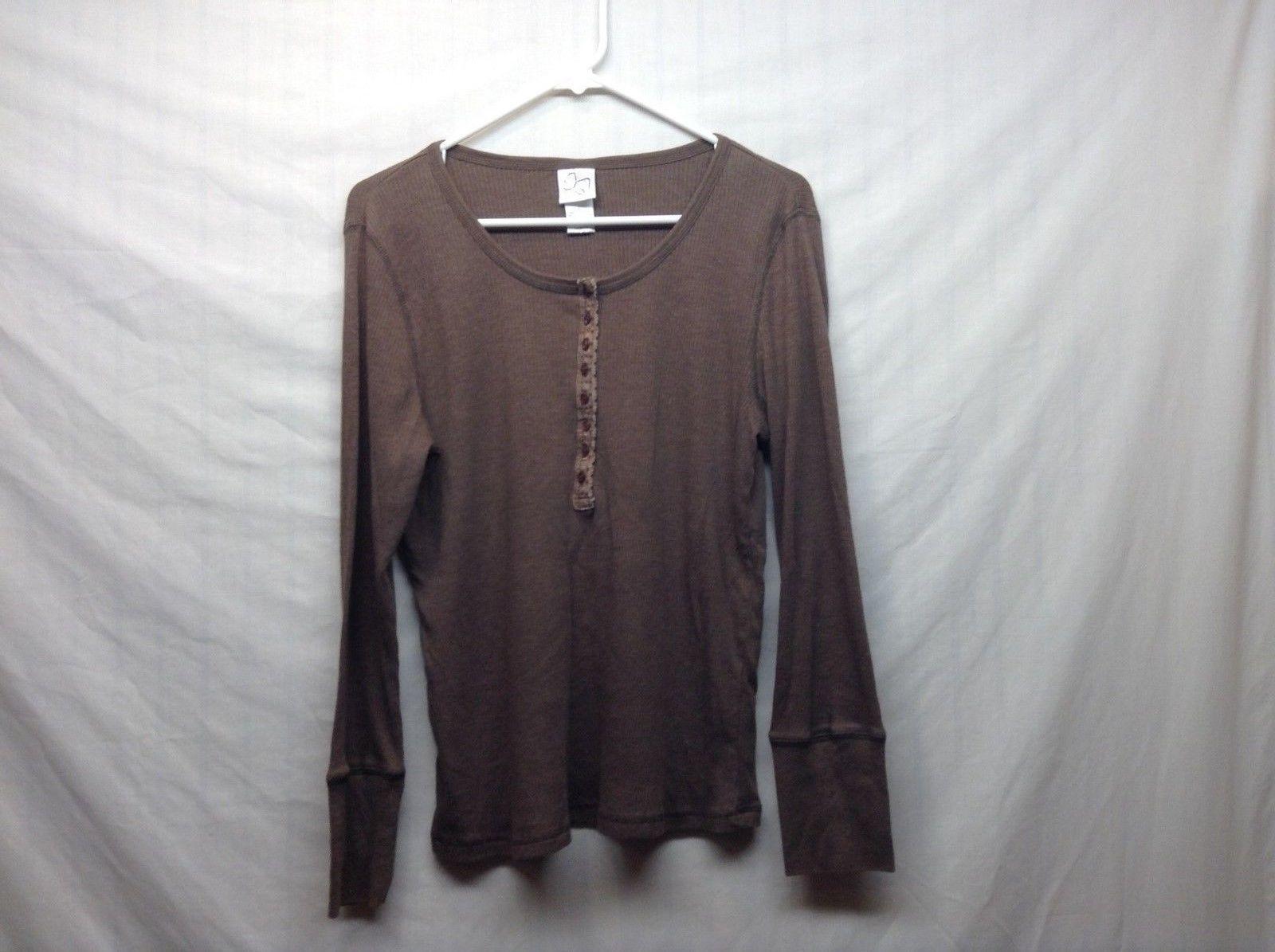 ButterflyTM Brown Scoop Neck Long Sleeve Pullover Sz LG