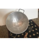 "Vintage Colander Strainer 3 Footed Aluminum Metal 11"" Large Strainer Plu... - $22.76"