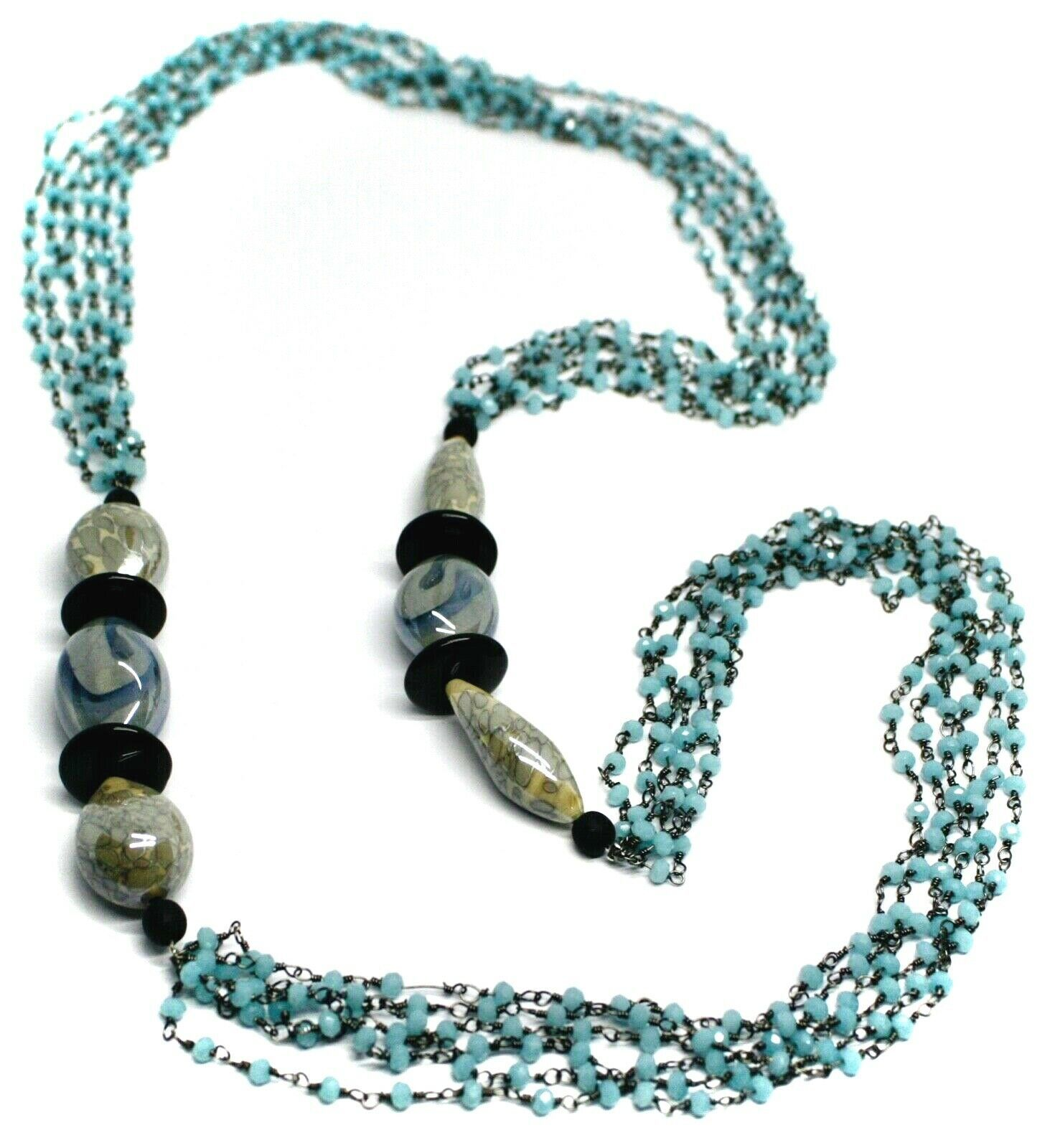 """NECKLACE BLACK, BLUE SPOTTED DROP OVAL MURANO GLASS, MULTI WIRES, 90cm 35"""" LONG"""