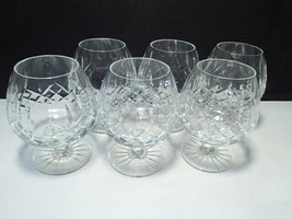 6 Gorgeous Cut Crystal Brandy Snifters ~~ lismore type pattern - $64.95