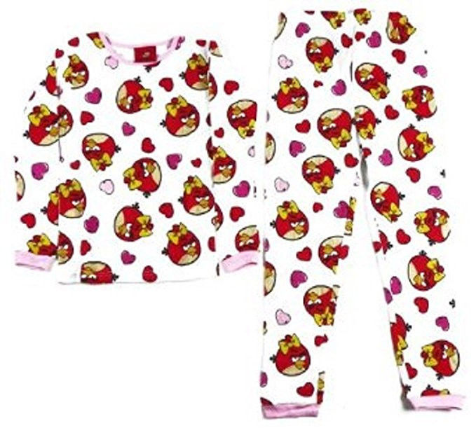 Size 4 Girl's Thermal Underwear Set Angry Birds Pink Bows Hearts