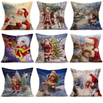 Merry Christmas Linen Santa 18*18Pillow Cases Sofa Cushion Cover Home De... - $6.99