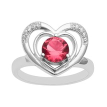 925 Sterling Silver Red Cubic Zirconia & White Topaz Gemstone Heart CZ G... - $21.70