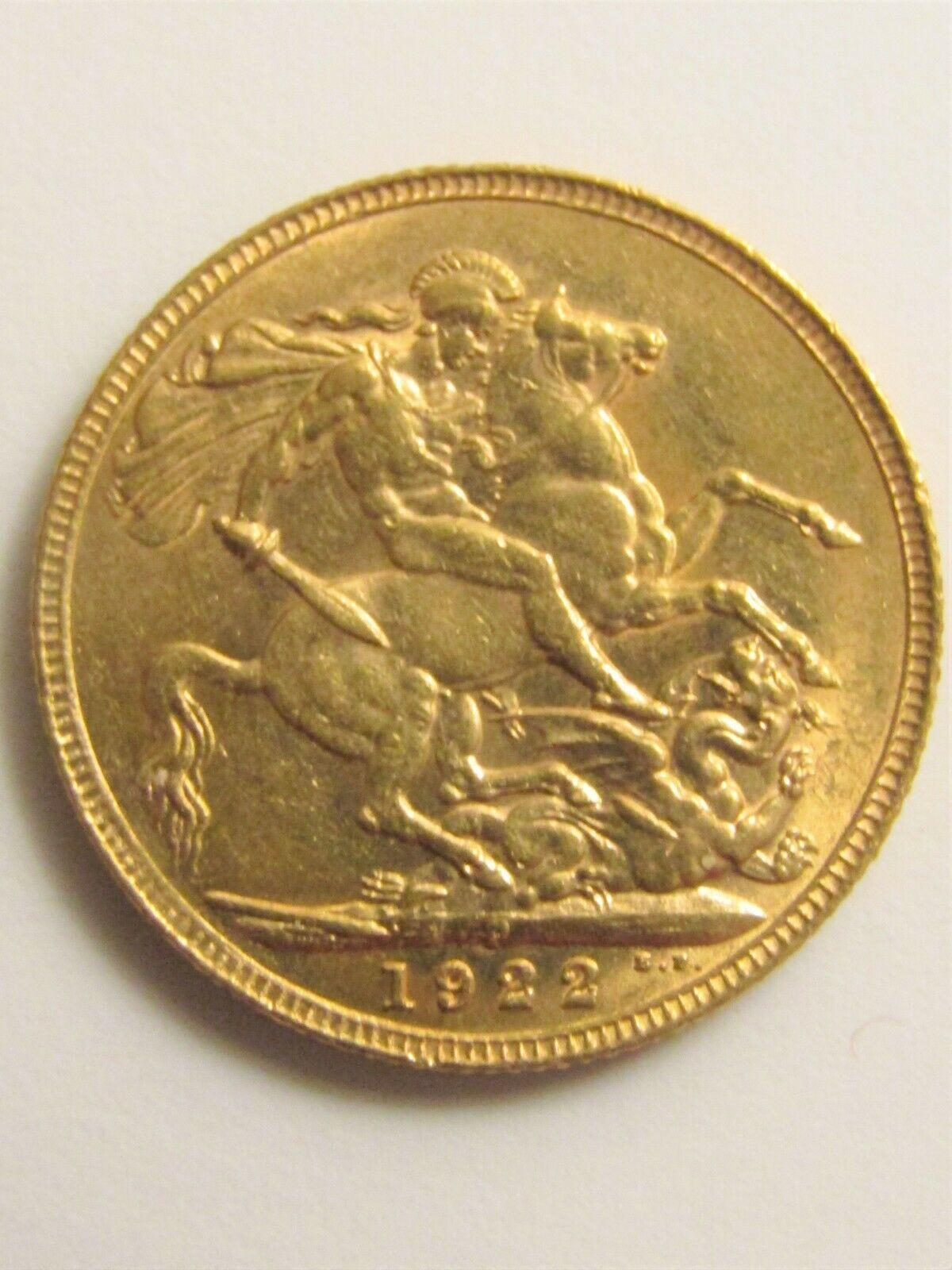 1922 22K Yellow Gold Coin GEORGIVS V D.G. BRITT OMN: REX F.D. IND : IMP :
