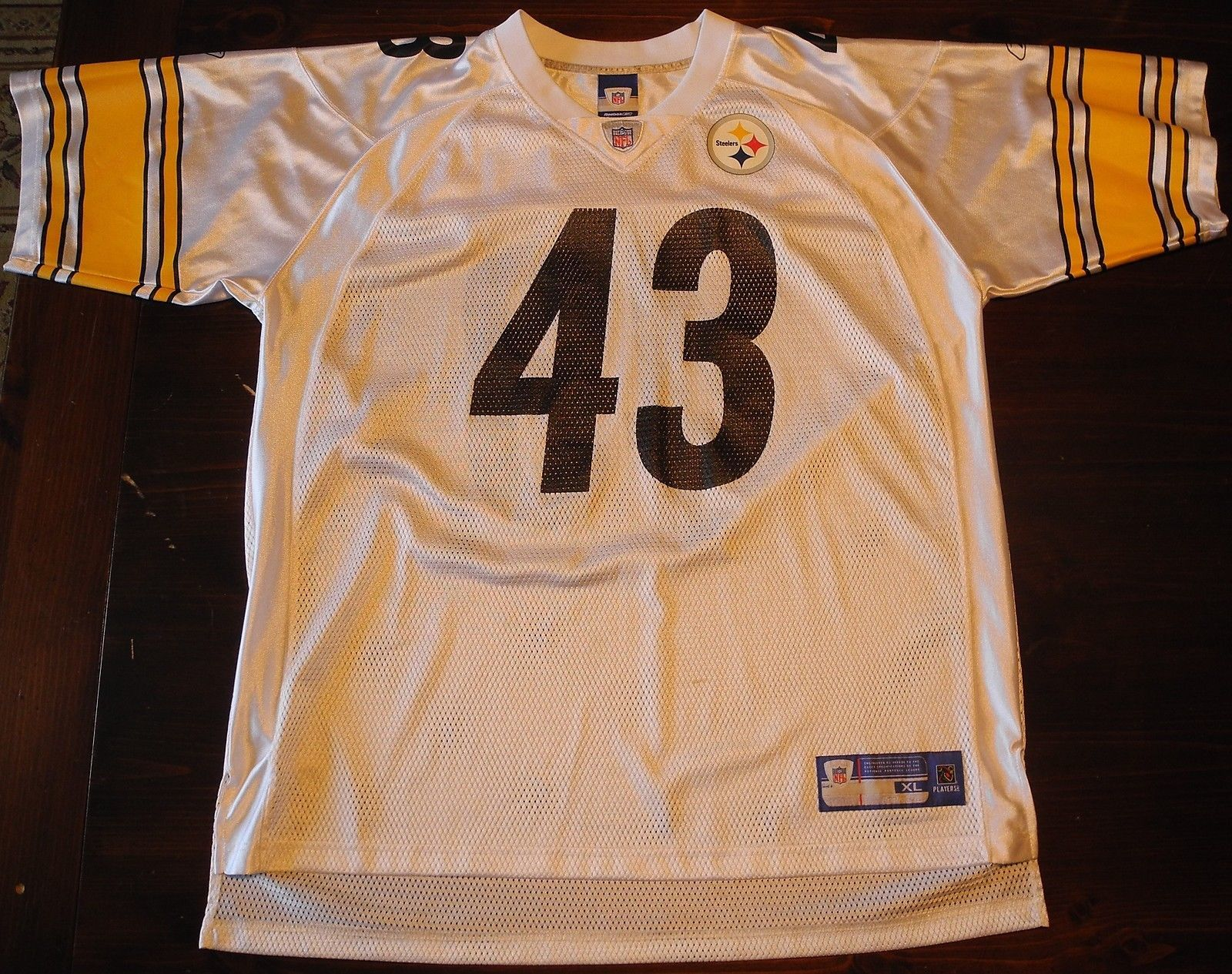 Primary image for Troy Polamalu Number #43 Jersey Pittsburgh Steelers Reebok Jersey Adult XL White