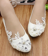 Ivory Lace Wedding Shoes/ Ivory White Lace Flat Shoes/ White Lace Flats ... - $38.00