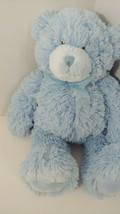 First Impressions plush baby toy blue teddy bear sheer bow Macy's 2009 - $9.89