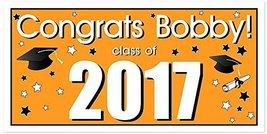 Class of 2017 Graduation Party Banner Decoration Orange Backdrop - $416,92 MXN