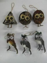 Garden Home Decor Owl feather ornaments SET OF 6 - $14.80