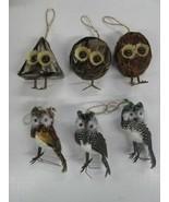 Garden Home Decor Owl feather ornaments SET OF 6 - $14.80