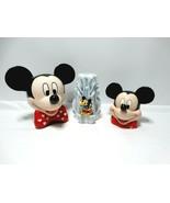 Disney Mickey Mouse Bank, Planter & Candle VGC - $14.85