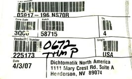 LOT OF 5 NEW GENERIC 03917-196 NS70R O-RINGS 4'' IN. ID. 4-3/8'' IN. OD. 225173 image 3