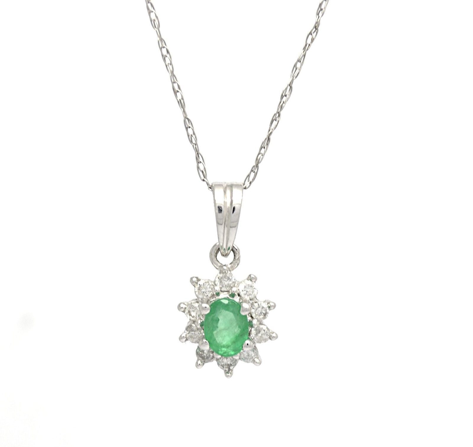 14K White Gold Genuine Emerald Diamond Pendant with 10 K Cable Chain