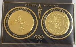 Set of Two MANAMA 1968 Mexico Olympics Gold Foil Airmail Stamps 3 Rls 2-... - $8.95